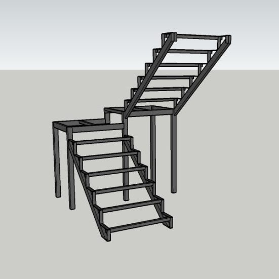 каркас лестницы под обшивку